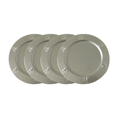"GiftBay CP-013(S/4) Wedding Metal Charger Plates 13"" Round with Beautiful Wedding Bells Embossed on Border Silver Finish Set of 4 Plates"