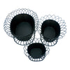 GiftBay 810-B(S/3) Pot / Planter in 3 Pieces Set, Metal, Removable Pots in A strongly Built Wire Cage, Black