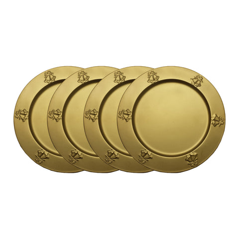"GiftBay CP-014(S/4) Wedding Metal Charger Plates 13"" Round with Beautiful Wedding Bells Embossed on Border Gold Finish Set of 4 Plates"