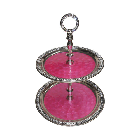 "GiftBay 575 Wedding 2-Tier Cupcake Stand Round 16"" High, Pink Color Enameled Trays with Clear Crystal-Studded Rim"