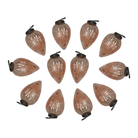 "GiftBay ORN-120(S/12) Antique-look Glass Ornament 3"" H, Set of 12 for Christmas Tree Decorations"