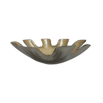 "GiftBay Dish-101 Star Shape Serving Bowl Permanently Enameld over Solid Aluminum Metal, Dark Cream Color with Beautiful Pattern, 10"" Diameter"