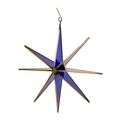 "GiftBay 303 Blue Hanging Glass Star 11"" High for Indoor and Outdoor Festive Christmas Decoration."