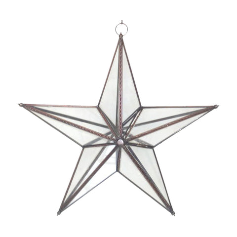 "GiftBay 338 Huge Clear Hanging Glass Star 20"" High for Indoor and Outdoor Festive Christmas Decoration."