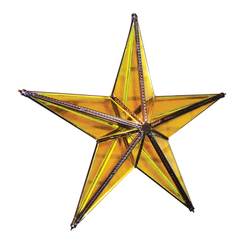 "GiftBay 341-Y Huge Yellow Hanging Glass Star 20"" High for Indoor and Outdoor Festive Christmas Decoration."