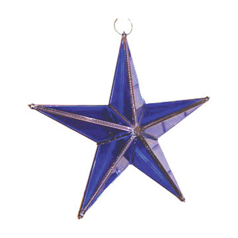 "GiftBay 343-B Blue Hanging Glass Star 9"" High for Indoor and Outdoor Festive Christmas Decoration."
