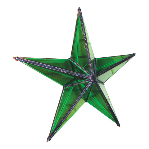 "GiftBay 343-G Green Hanging Glass Star 9"" High for Indoor and Outdoor Festive Christmas Decoration."