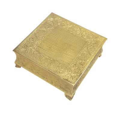 "GiftBay Gold Wedding Cake Stand Square 22"", Aluminum Gold Finish."