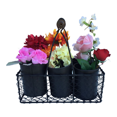 "GifBay Creations® Metal Wire Basket with Six Pots 11"" High (Black)"