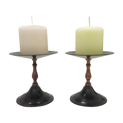 "GiftBay 1006(S/2) Candlestick Holder, Antique Black and Copper Finish, 5""h"