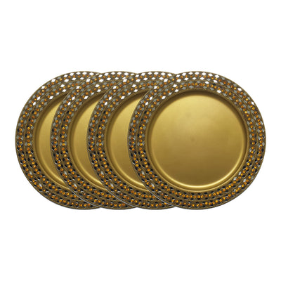 "GiftBay Creations CP-005G(S/4) Gold Wedding Charger Plates Strongly Built of Heavy Metal, Beautifully Handcrafted with Crystals, 13"" Round, Set of 4 Plates"