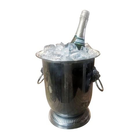 "GiftBay Wine Chiller / Wine Cooler, Brass Silver 9"" Height"