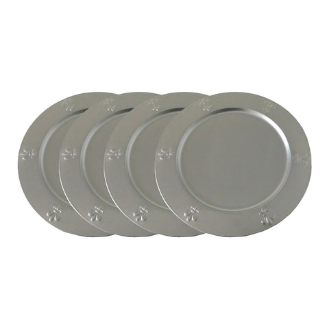 "GiftBay CP-010(S/4) Wedding Charger Plates 13"" Round, Beautiful Fleur-de-lis Embossed on Border, Silver /Grey Color Finish, Set of 4 Plates"