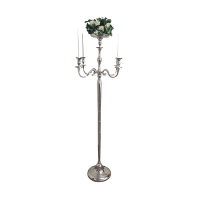 "GiftBay 4017 Wedding Candelabra with 5 Candlestick Holders and 1 Flower Pot Plate Holder, Silver, Nickle Plated, 72""H and 27""W"