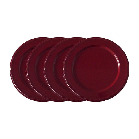"GiftBay CP-006(S/4) Wedding Charger Plates 13"" Round with Embossed on Border with Unique Beaded Design, Burgundy Finish Set of 4 Plates"
