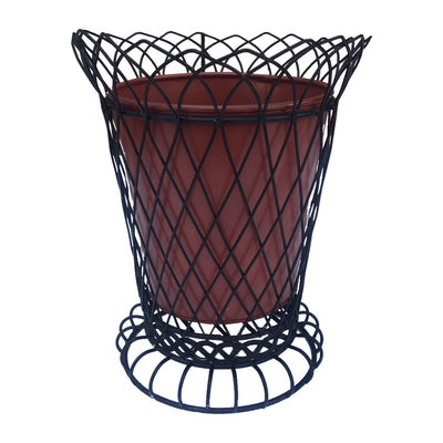 "GiftBay 807-BR Tall Wire & Pot Black & Red Container / Vase 11"" High. Very Unique and Strongly Built for Multi- Purpose Use"