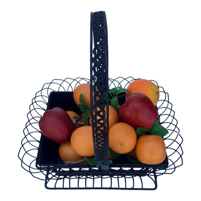 "GiftBay 813-B Wire Basket with Pot Black 16.5"" High. Very Unique and Strongly Built for Multi- Purpose Use"