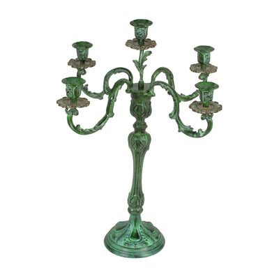 "GiftBay 4005 Wedding Candelabra with 5 Holders, Made of Solid Brass, Colored Patina, 26""H and 22""W"
