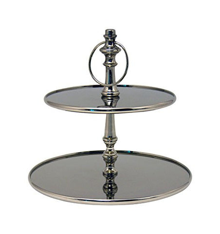 "GiftBay 555 Wedding Classic 2-Tier Cupcake Stand Silver Round 13"" High"