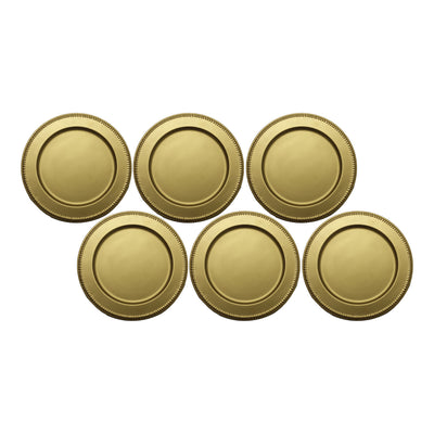 "GiftBay Creations CP-008(S/6) Wedding Metal Charger Plates 13"" Round, Gold Finish Set of 6 Plates"