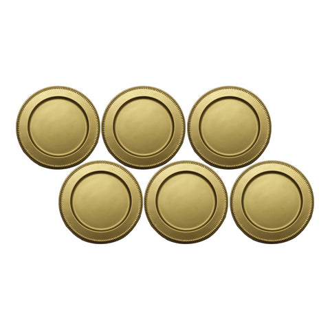 "GiftBay CP-008(S/6) Wedding Metal Charger Plates 13"" Round, Gold Finish Set of 6 Plates"