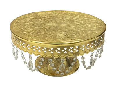 "GiftBay Wedding Cake Stand Round Pedestal Gold finish 14"" with Glass Clear Crystals"
