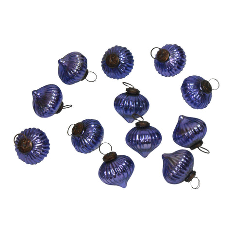 "GiftBay ORN-107(S/12) Antique-look Glass Ornament 2.5"" H, Set of 12 for Christmas Tree Decorations"