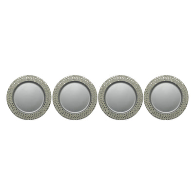 "GiftBay CP-005S(S/4) Wedding Charger Plates Metal 13"" Round, Set of 4 Plates Silver Finish"