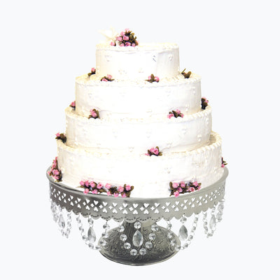 "GiftBay Creations® Pedestal Cake Stand Silver, 18"" with Clear Crystals"