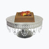 "GiftBay Wedding Cake Stand Round Pedestal Silver finish 18"" with Clear Hanging Glass Crystals"
