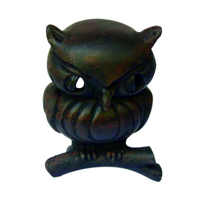 GiftBay GS-503 Halloween Metal Owl 7 inch height, with Votive Holder in Back, Rustic Finish