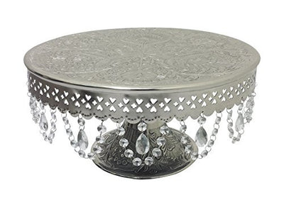 "GiftBay Creations® Pedestal Cake Stand Silver, 16"" with Clear Crystals"