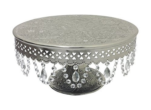 "GiftBay Wedding Cake Stand Round Pedestal Silver finish 16"" with Clear Hanging Glass Crystals"