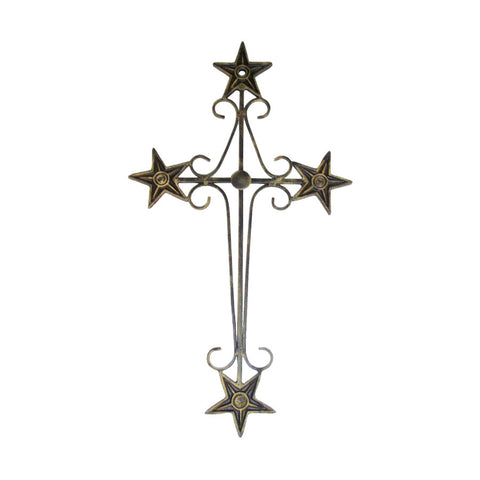 "GiftBay 522 Wall Mounted Wrought Iron Cross, 14""L x 24.5""H."
