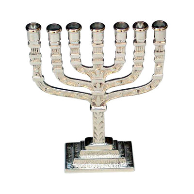 "GiftBay 6028 Menorah 7-Branch Nickel Plated Finish 4.5""x1.5""x6"" H"