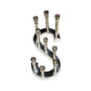 "GiftBay 6036 Menorah and Candle Stick Holder in The Shape of ""S"" Letter with 9 Candle Holders Nickel Plated"