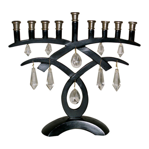 "GiftBay 6051 Menorah 9-Branch with Hanging Crystals and Black & Antique Pewter Finish 8.25"" H"