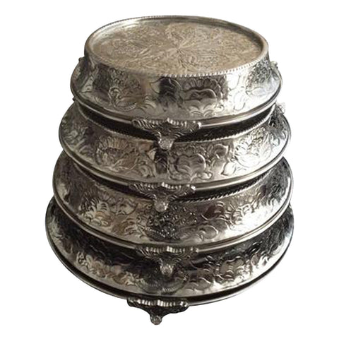 "GiftBay Wedding Cake Stand Tapered Round 12"", 14"", 16"" & 18"", Silver"