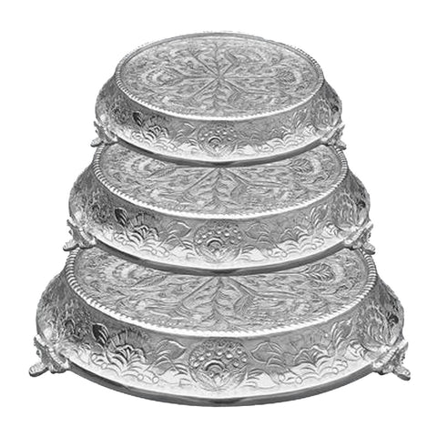 "GiftBay Wedding Cake Stand Tapered Round 14"", 16"" & 18"", Silver"
