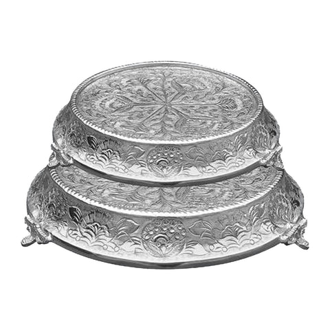 "GiftBay Wedding Cake Stand Tapered Round 14"" and 16"", Silver"