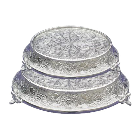"GiftBay Wedding Cake Stand Tapered Round 16"" and 18"", Silver"