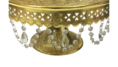 "GiftBay Creations® Pedestal Cake Stand Gold, 14"" with Clear Crystals"