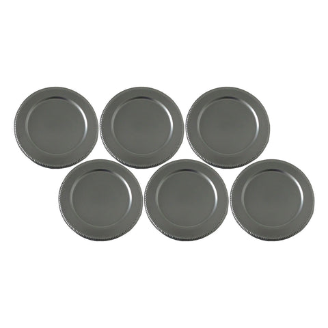 "GiftBay CP-007(S/6) Wedding Metal Charger Plates 13"" Round, Silver Finish Set of 6 Plates"