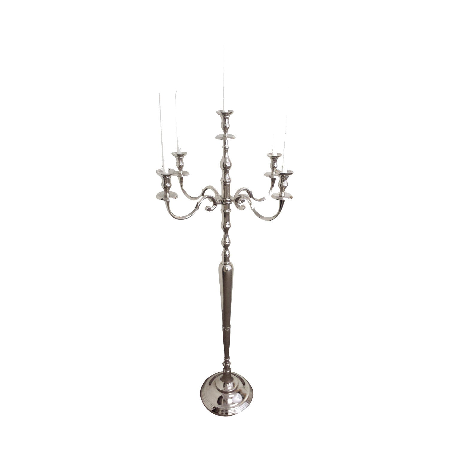 ... Silver GiftBay 4016 Wedding Candelabra with 5 Candlestick Holders and 1  Flower Pot Plate Holder, ...