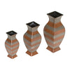 "GiftBay 8005 (S/3) Brass Metal Vase Set of 3, Sizes 11"", 9"" & 7"" Height,Two-Tone Antique Copper & Silver Plated Finish"