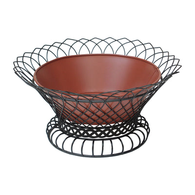 "GiftBay 808-BR Wire Bowl & Pot Black & Red Container.14"" Diameter, Very Unique and Strongly Built for Multi- Purpose Use"