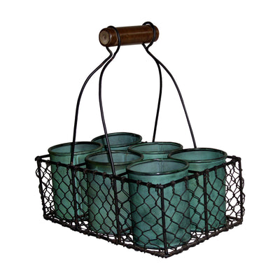 "GifBay Creations® Metal Wire Basket with Six Pots 11"" High (Green)"