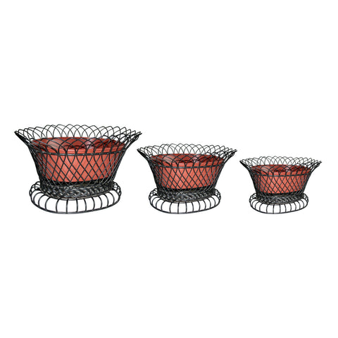 GiftBay 810-BR(S/3) Metal Pot/ Basket in Set of 3 Pieces, Strong Wire Cage Black Holding Detachable Pot