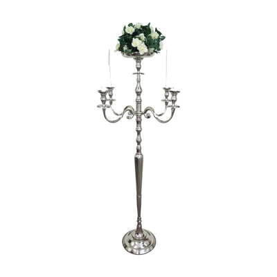 "GiftBay 4016 Wedding Candelabra with 5 Candlestick Holders and 1 Flower Pot Plate Holder, Silver, Nickle Plated, 62""H and 27""W"