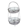 "GiftBay 905 - 2-Tier Metal Wire Baskets Stand Black 11"" x 10"" x 20.5"" High"